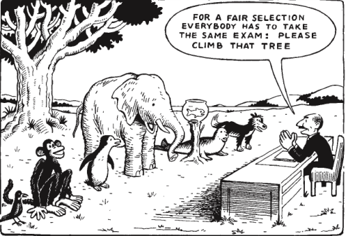 "Comic - a man can be seen talking to a diverse group of animals in front of a tree. ""For a fair selection, everybody has to take the same exam: Please climb that tree."""